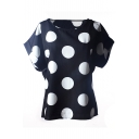 Black Short Sleeve Polka Dot Print Chiffon T-Shirt