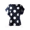Black Short Sleeve Polka Dot Print Chiffon T-Shirt