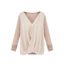 Panel V-Neck Chiffon Blouse