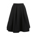 Plain Wool High Waist Pleated Midi Skirt