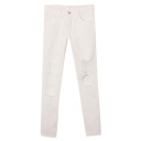 White Plain Ripped Busted Open Knee High Waist Jeans