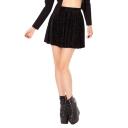 Black Geo-Tribal Pattern Velvet Skater Skirt