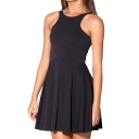Sleeveless Black Pleated Mini Dress