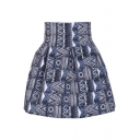 High Waist Pleated Mini Skirt with Ethnic Print