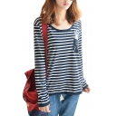 Striped Long Sleeve Casual Tee with Pocket Rabbit