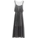 Fake Two-piece Style Longline Chiffon Checker Dress