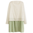 Embroidered Detail White Top Green Flora Print Panel Hem Dress
