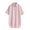 Plaid Short Sleeve Shirt with Dip Hem and Simpson Print Back