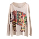 Flower Elephant Print Beige Loose Sweater