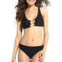 Plain High Waist Scoop Neck Bikini Set