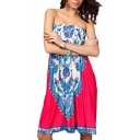 Elastic Chest Strapless A-line Tribal Pattern Print Dress