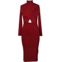Plain Half High Neck Long Sleeve Open Waist Long Sleeve Dress