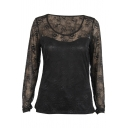 Black Mesh Cutout Lace Inserted Long Sleeve Top