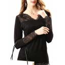 Sexy Black Lace Crochet Mesh V-Neck Long Sleeve Top