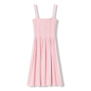 Pink Strap Ruched Fitted Ruffle Hem Sun Dress
