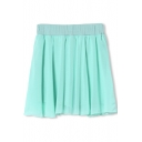 Green Chiffon Elastic Waist A-Line Pleated Skirt