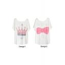 Pink Crown&Bow Tie Print White Tee