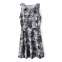 Floral Ink Round Neck Gathered Waist Tank Dress
