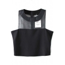 Black Sheer Organza Paneled Round Neck Crop Tanks
