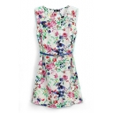 White Floral Print Belted Sleeveless Tank Dress
