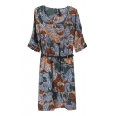 Print 3/4 Sleeve Round Neck Belted Dress