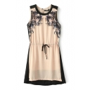 Print Round Neck Sleeveless Dress with Drawstring Waist