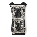 Geometrical Pattern Round Neck Sleeveless Mini Dress