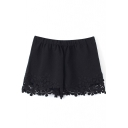 Black Elastic Waist Lace Hem Shorts