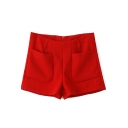 Red Double Pocket Zip Back Shorts