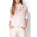 White Long Sleeve Pink Ink Color Flora Chiffon Shirt