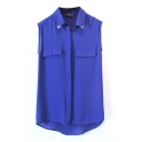 Blue Fake Pockets Lapel Chiffon Blouse