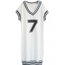 White Short Sleeve V-Neck 7&Stripe Dress