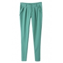 Green Simple Skinny Pencil Pants