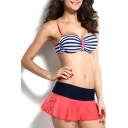Stripe Adjustable Straps Ruffle Hem Bikini Set