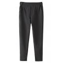 Mid Waist Elastic Casual Pants