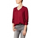 Long Sleeve V-Neck Blouse By Loose