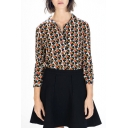 Vintage Geometric Print Point Collar Long Sleeve Shirt