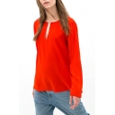 Red Cutout Front Long Sleeve Dip Hem Top