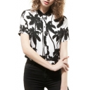 White Short Sleeve Coco Tree Print Blouse