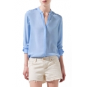 Blue Stand-Up Collar Long Sleeve Chiffon Blouse
