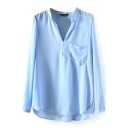 Blue V-Neck Long Sleeve Pocket Blouse