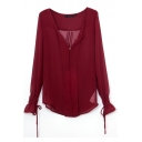 Red V-Neck Long Sleeve Blouse with Drawstring Cuff