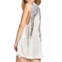 White Vintage Wings Back Loose Tunic Tank