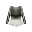 Stripe Print Long Sleeve Chiffon Ruffle Hem Top