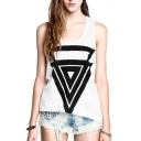 White Round Neck Triangle Print Tank