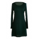 Dark Green Slim Concise A-line Mini Dress