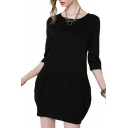 Black Round Neck 3/4 Sleeve Ballon Dress