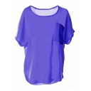 Dark Purple Short Sleeve Pocket Front Chiffon Blouse