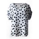 White Short Sleeve Geometric Print Chiffon T-Shirt