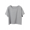 Gray Plain Single Pocket Round Neck T-Shirt